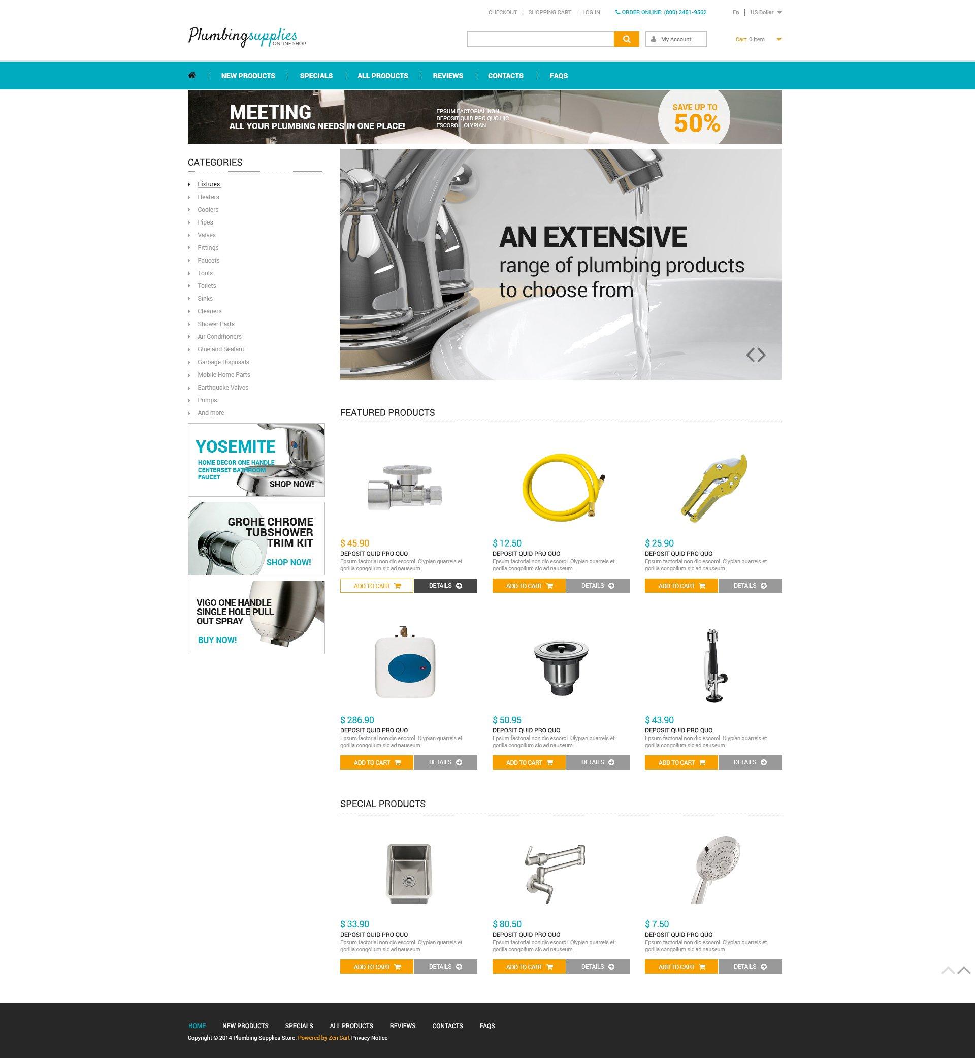 Plumbing ZenCart Template - screenshot