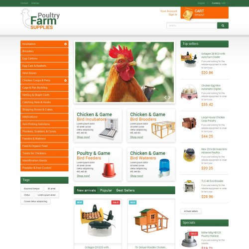 Poultry Farm Supplies - PrestaShop Template based on Bootstrap