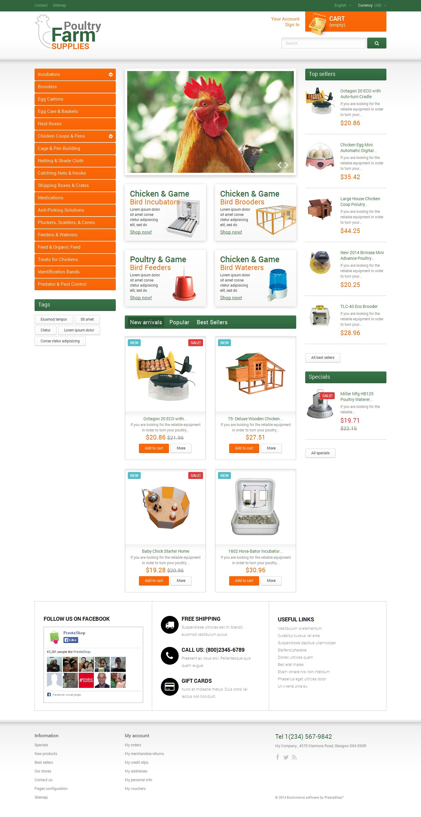 Poultry Farm Supplies Tema PrestaShop №49463 - screenshot