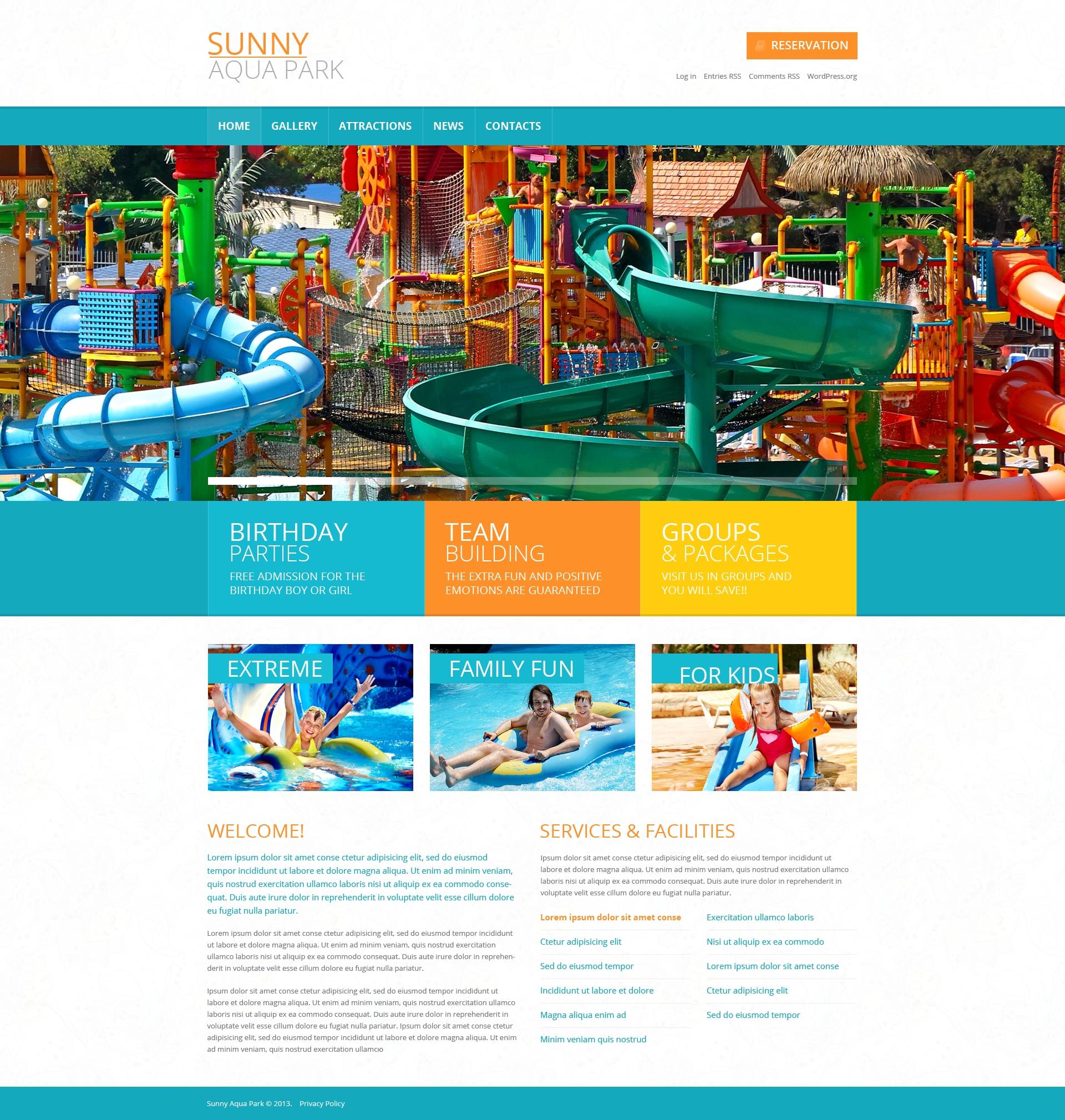 Responsivt Entertainment.Amusement Park Template WordPress-tema #49450