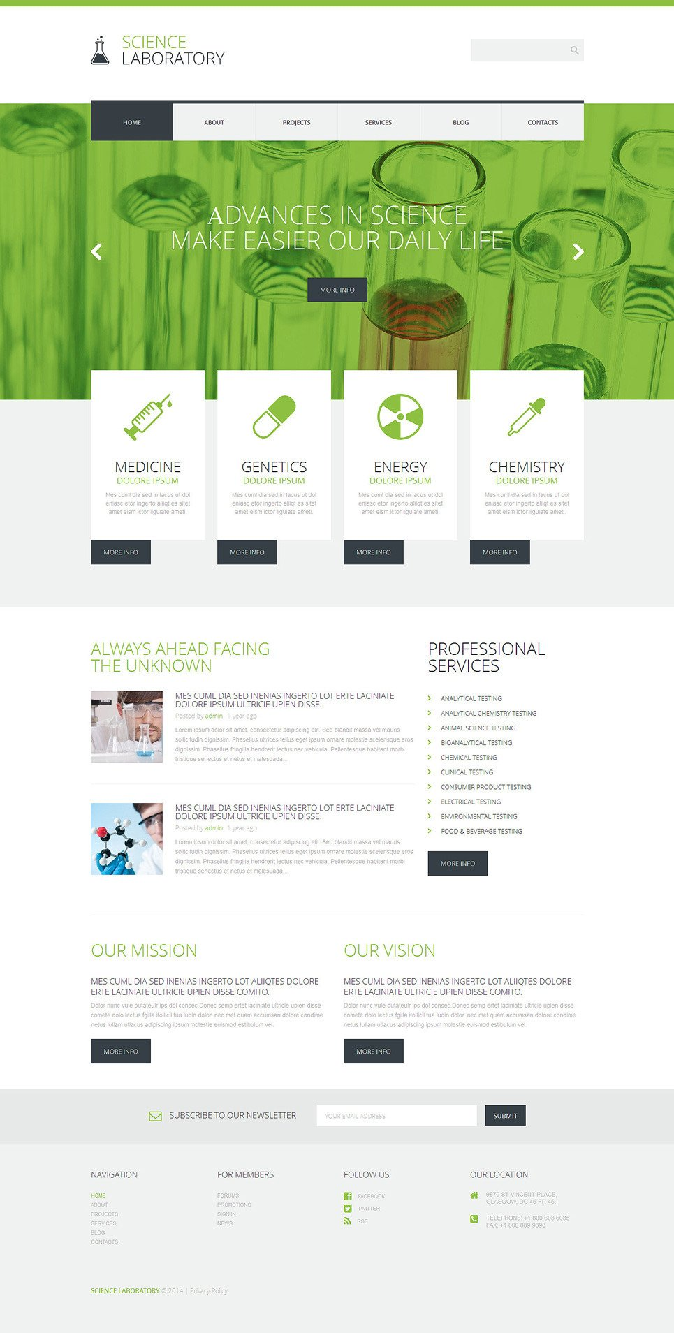 Science Lab WordPress Theme New Screenshots BIG