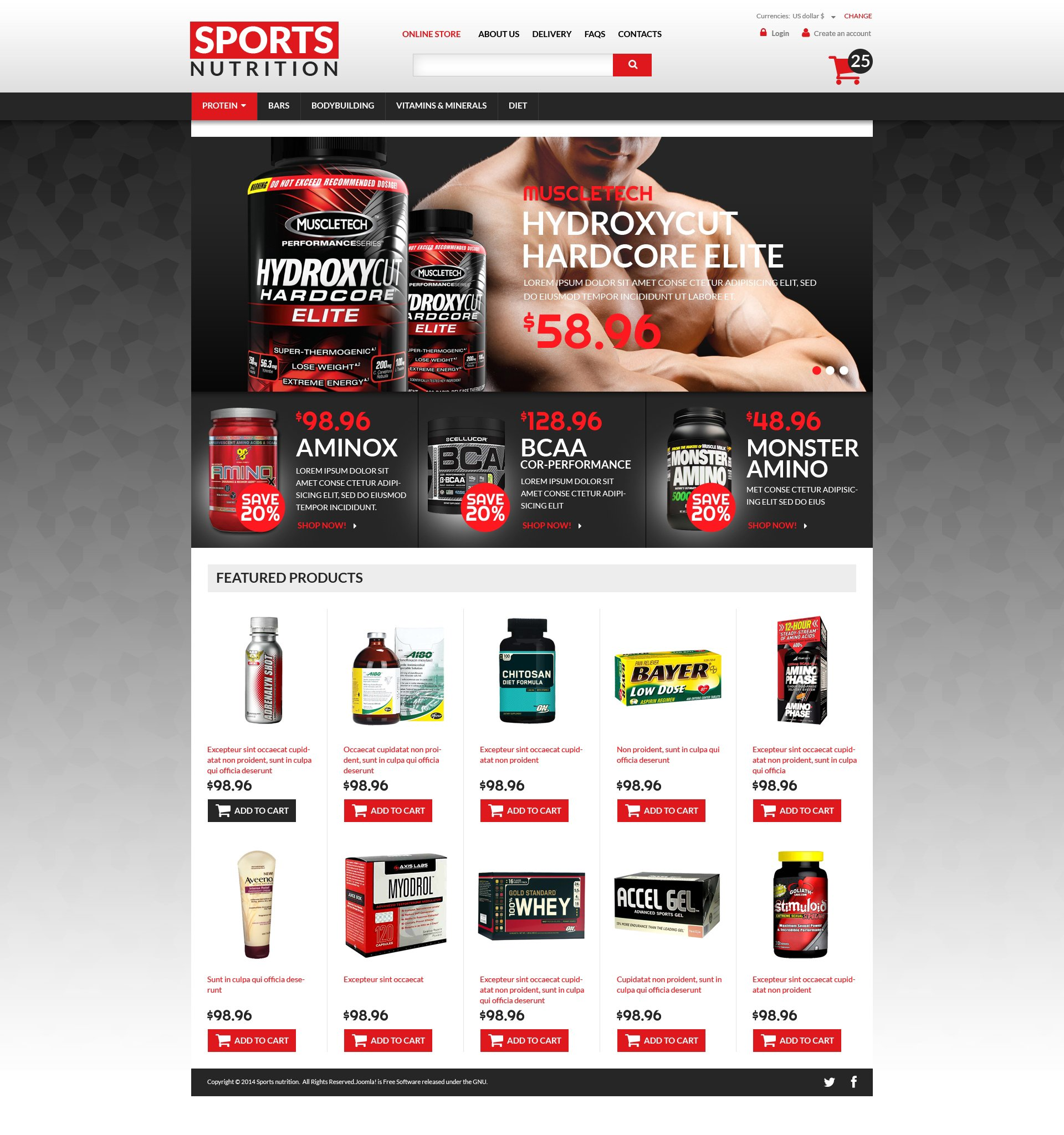Sports Nutrition Supplements Template VirtueMart №49454