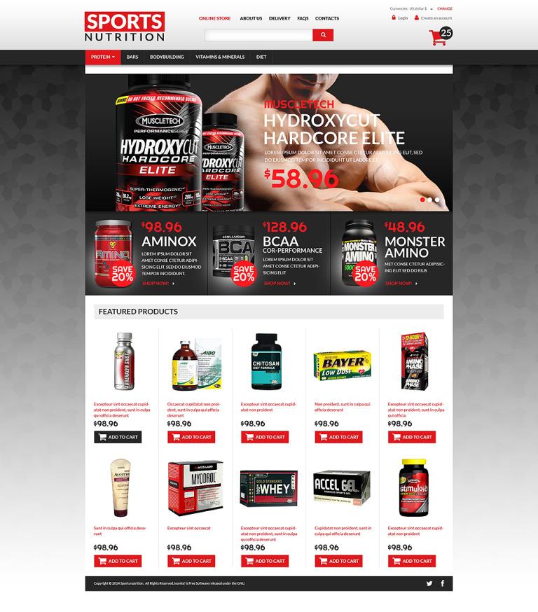 Sports Nutrition Supplements VirtueMart Template New Screenshots BIG