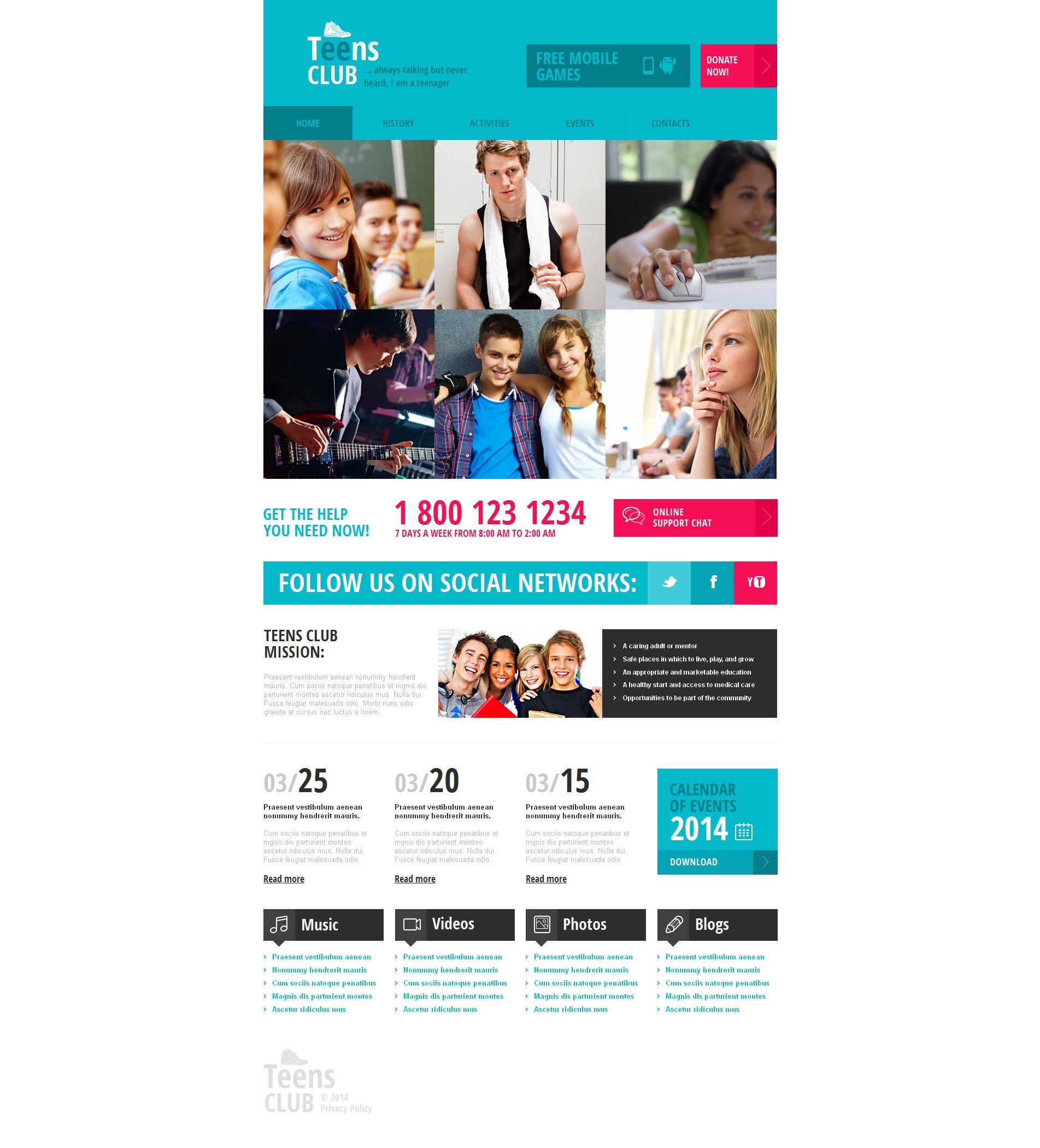 Teen Club Moto CMS HTML Template