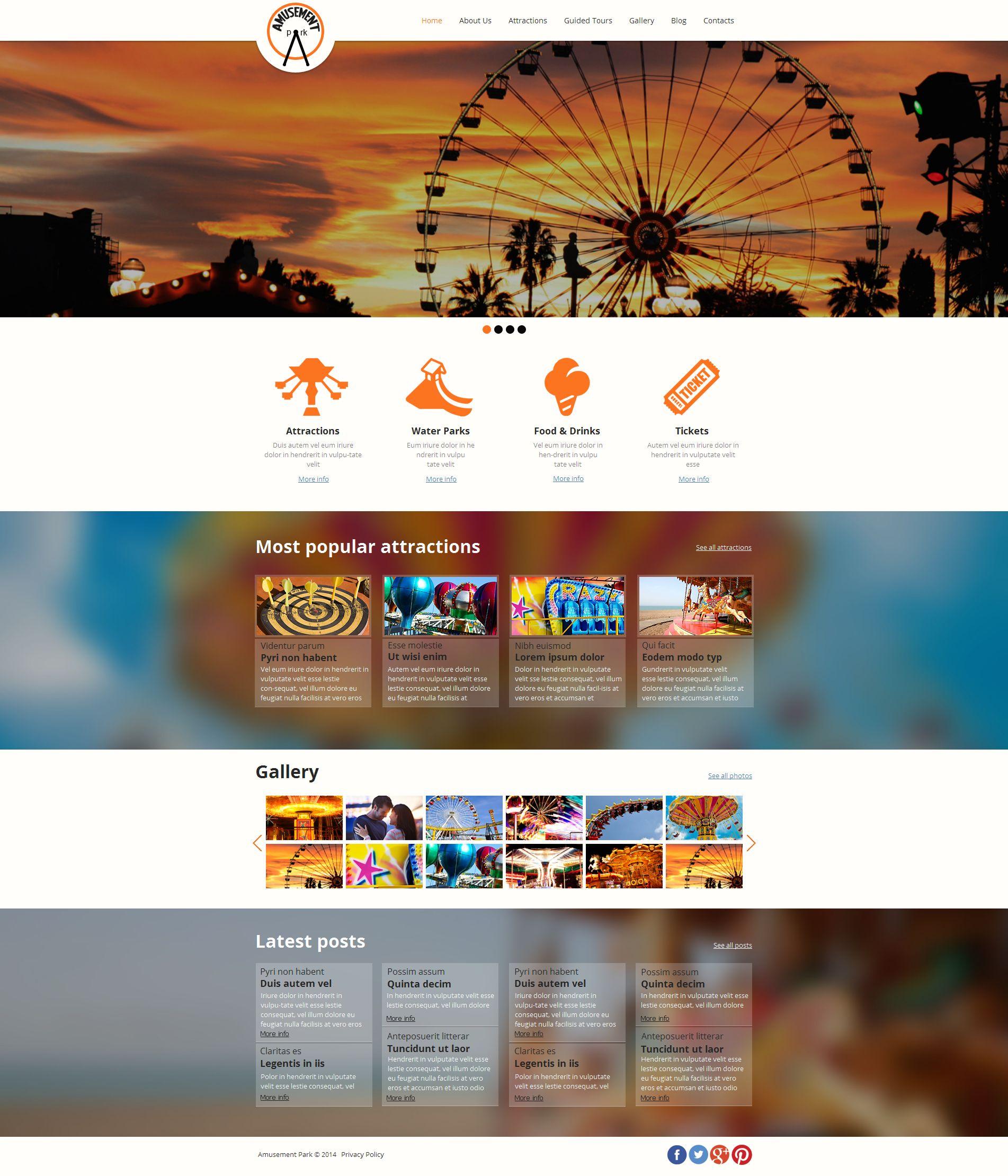 Template Moto CMS HTML para Sites de Parque de Atrações №49439