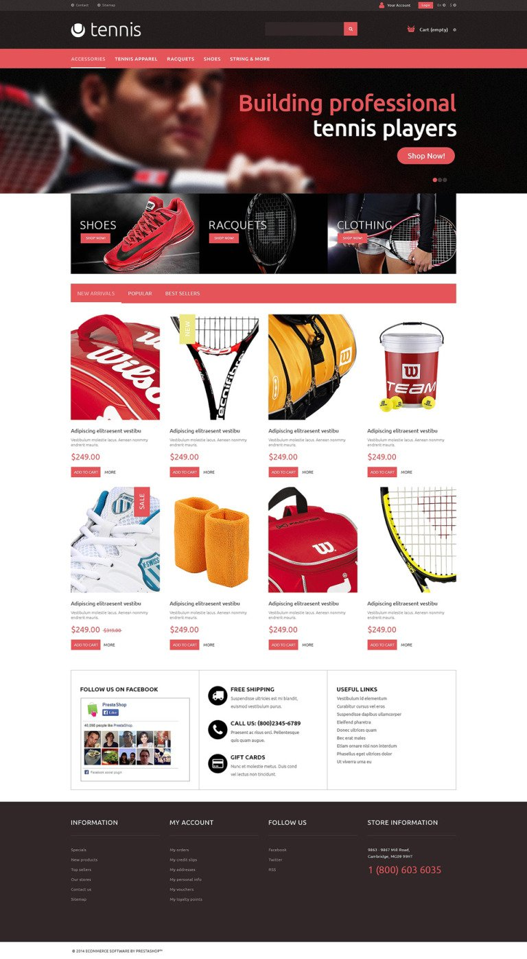 Tennis Accessories PrestaShop Theme New Screenshots BIG
