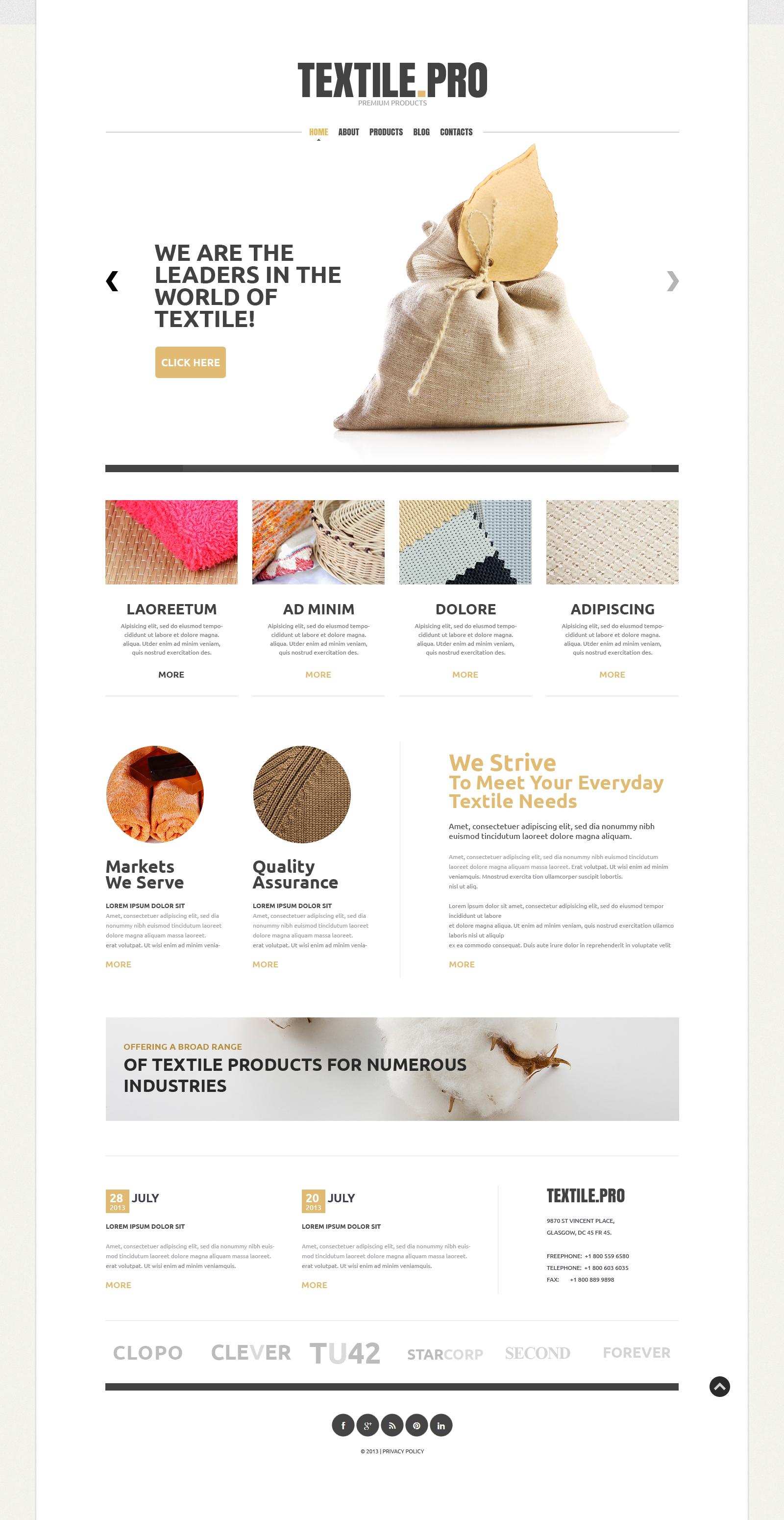 """Textile Industry"" - адаптивний Joomla шаблон №49484"