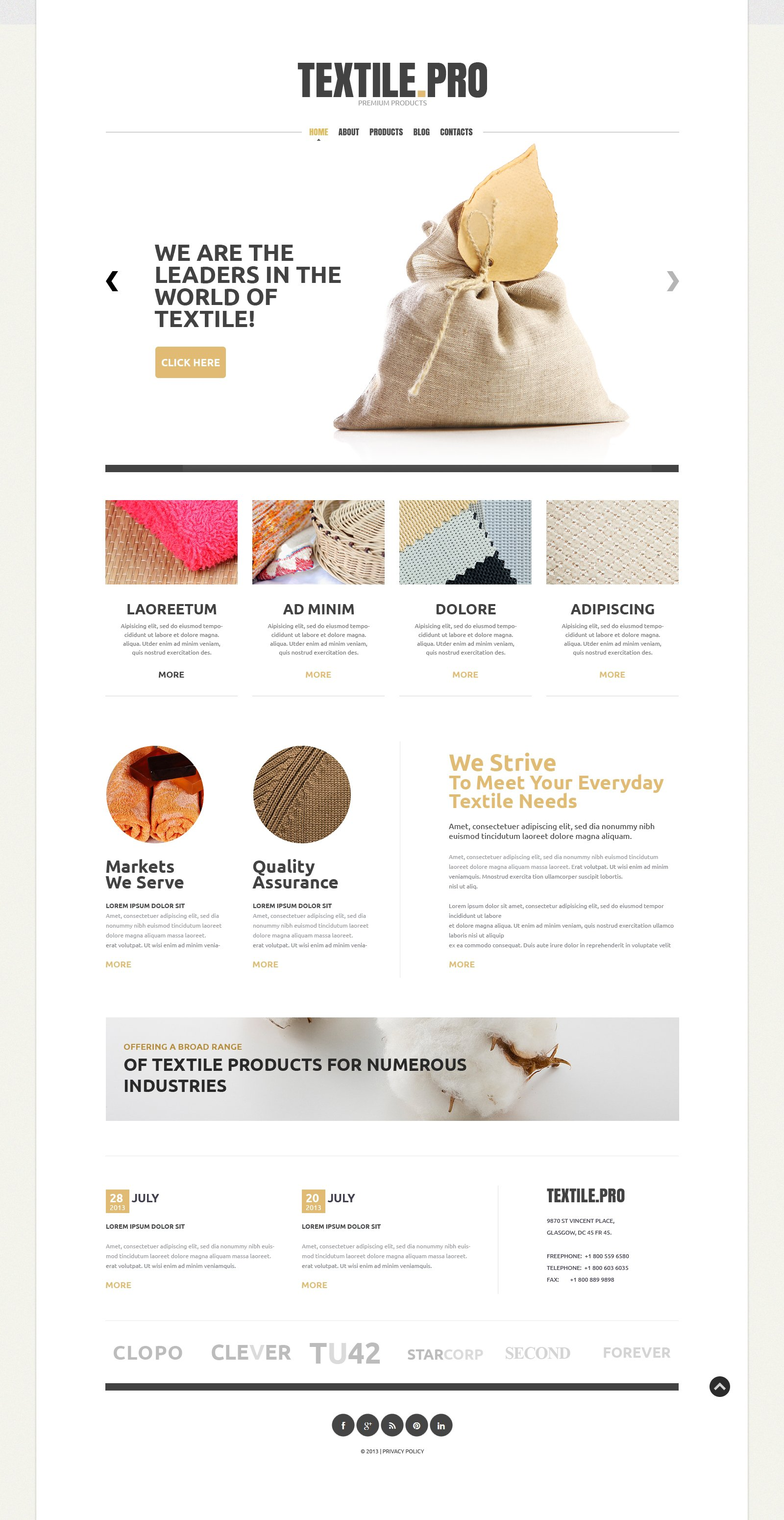 Textile Industry Joomla Template - screenshot