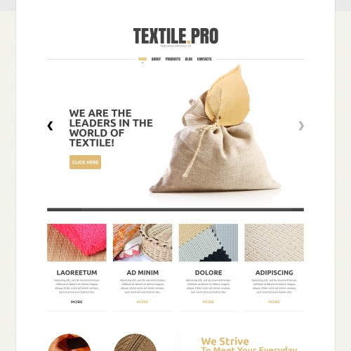 Textile Pro - Textile Industry Website Template based on Bootstrap