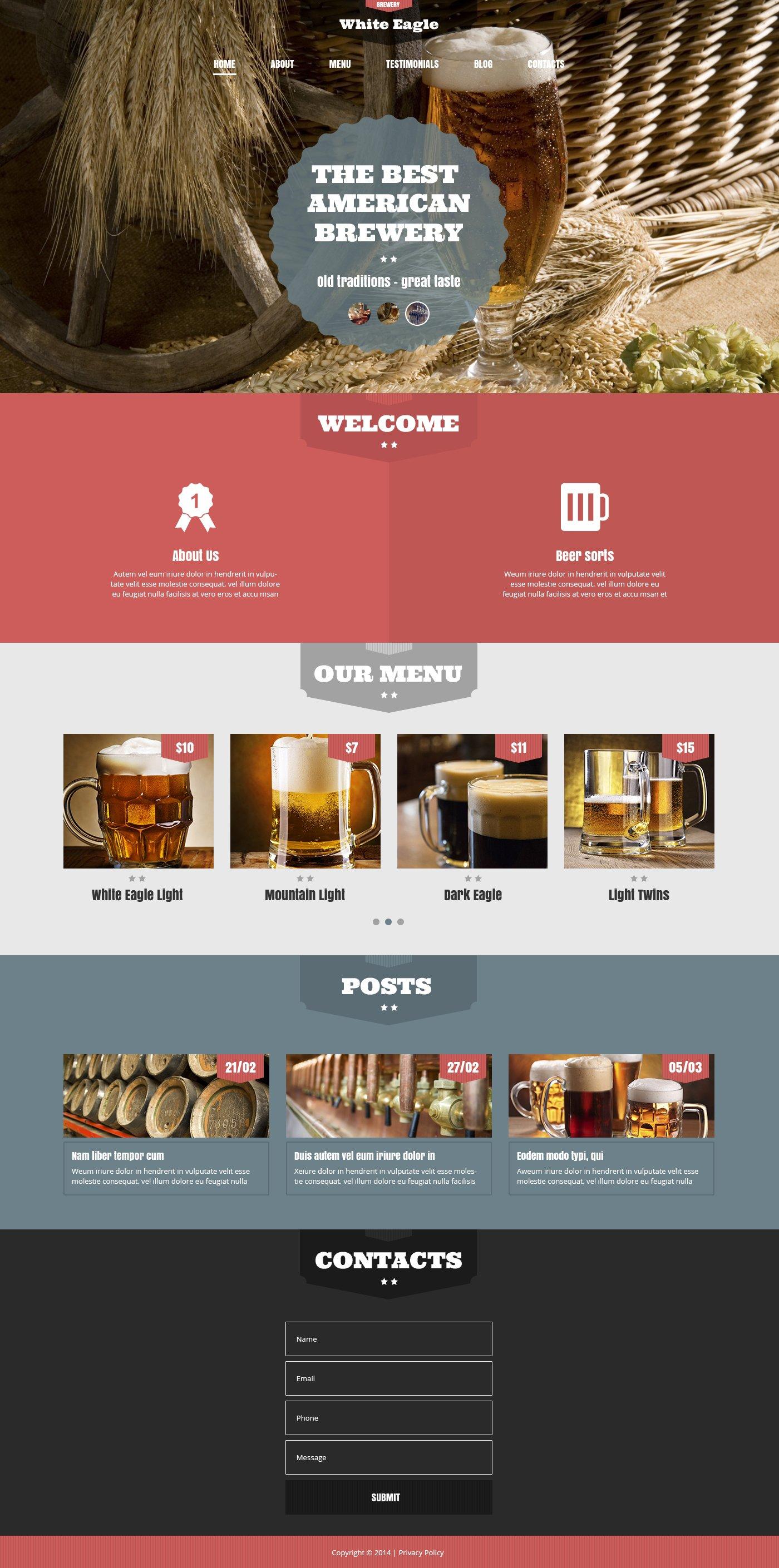 """The Best American Brewery"" - адаптивний WordPress шаблон №49402"