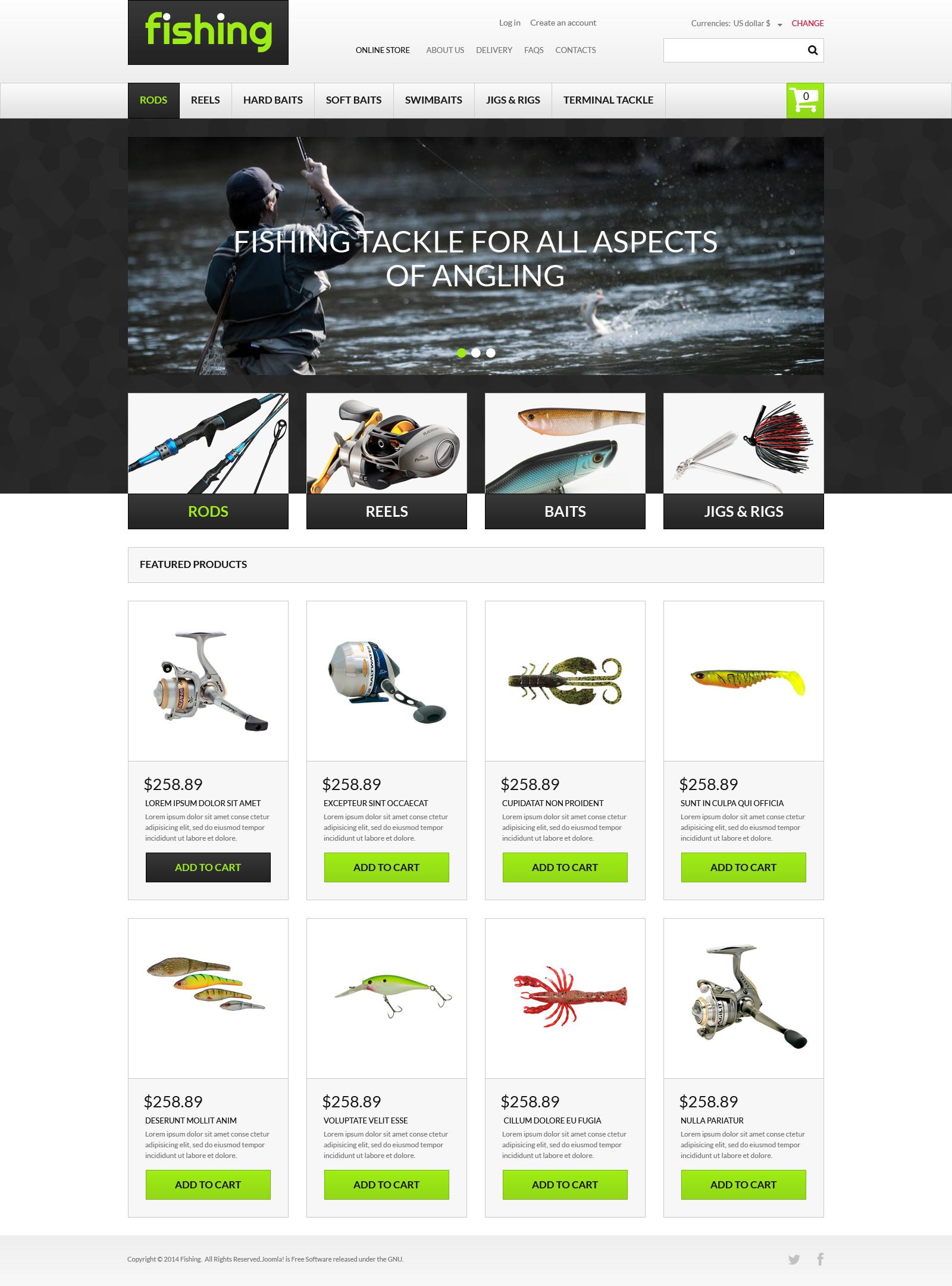 """""""Varity of Fishing Equipment"""" VirtueMart Template №49441 - screenshot"""