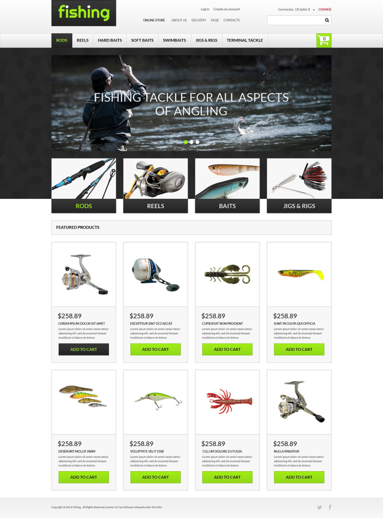 Varity of Fishing Equipment VirtueMart Template New Screenshots BIG