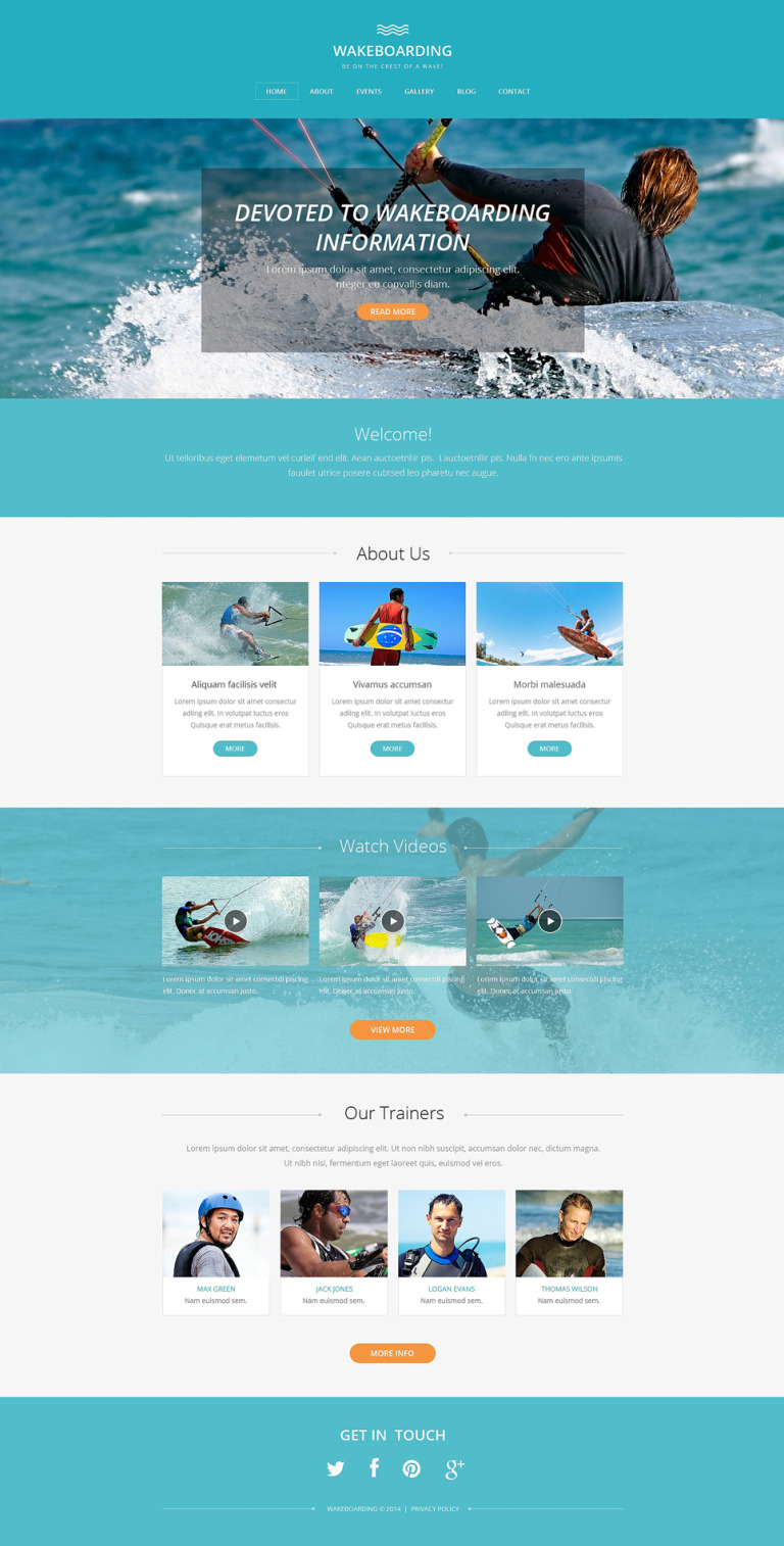 Wakeboarding Drupal Template New Screenshots BIG