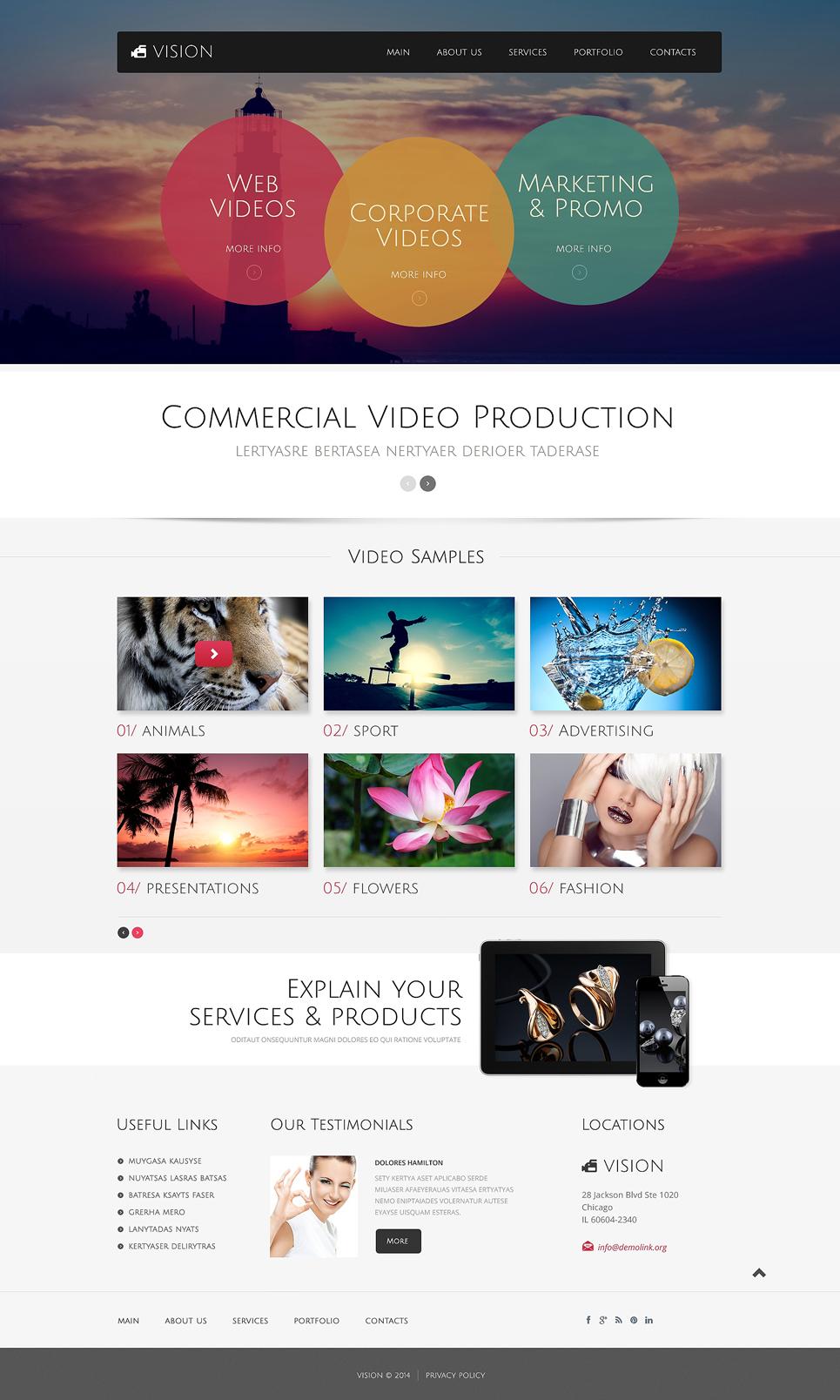 Plantilla HTML ideal canal de televisión, productora, revista y ...