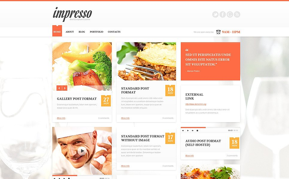 Tema De WordPress Responsive para Sitio de Restaurante europeo New Screenshots BIG