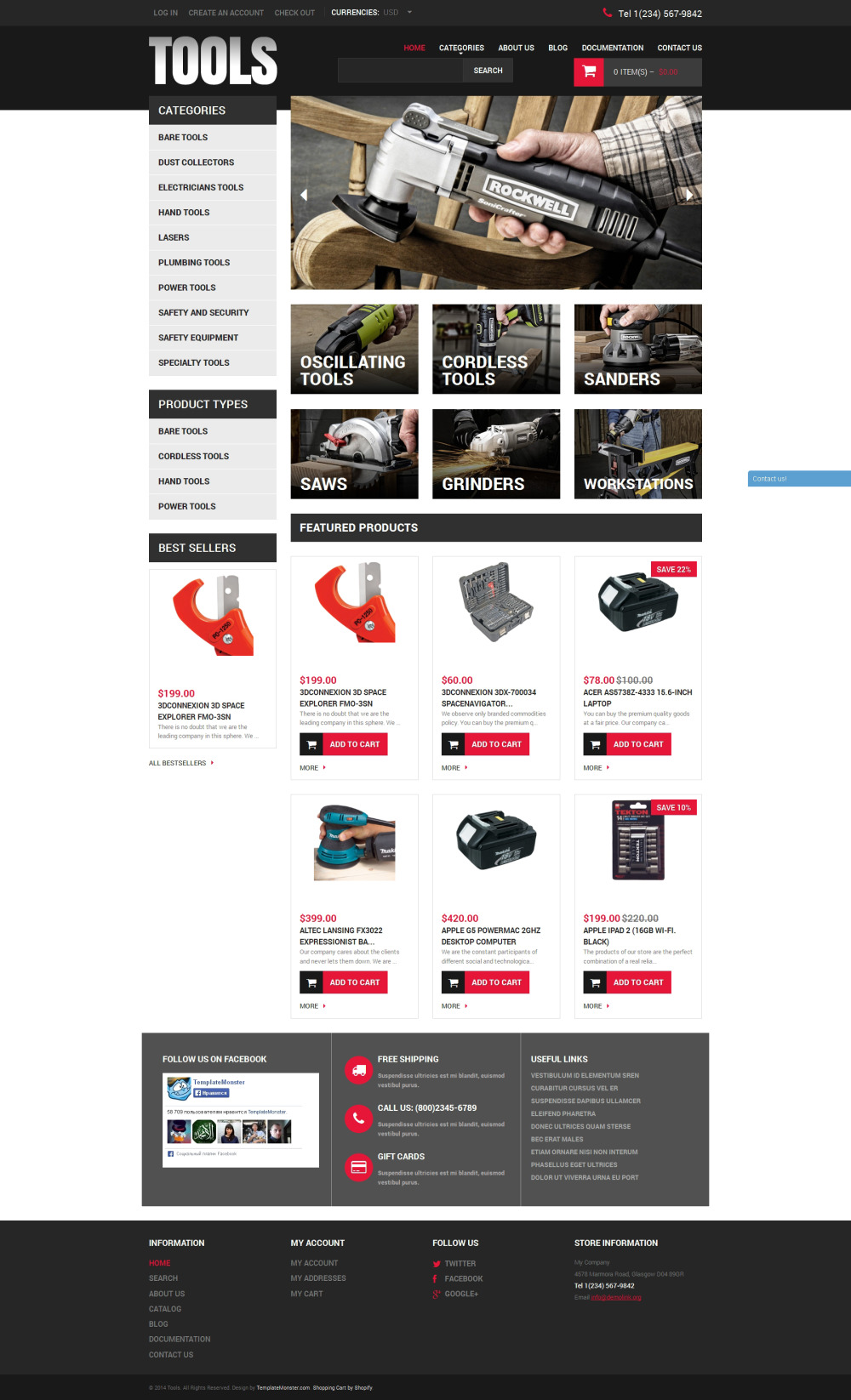 Tools & Equipment Shopify Theme   Website Templates