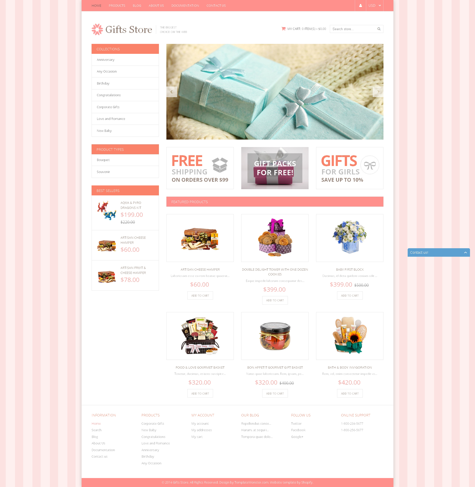 Адаптивный Shopify шаблон №49590 на тему магазин подарков