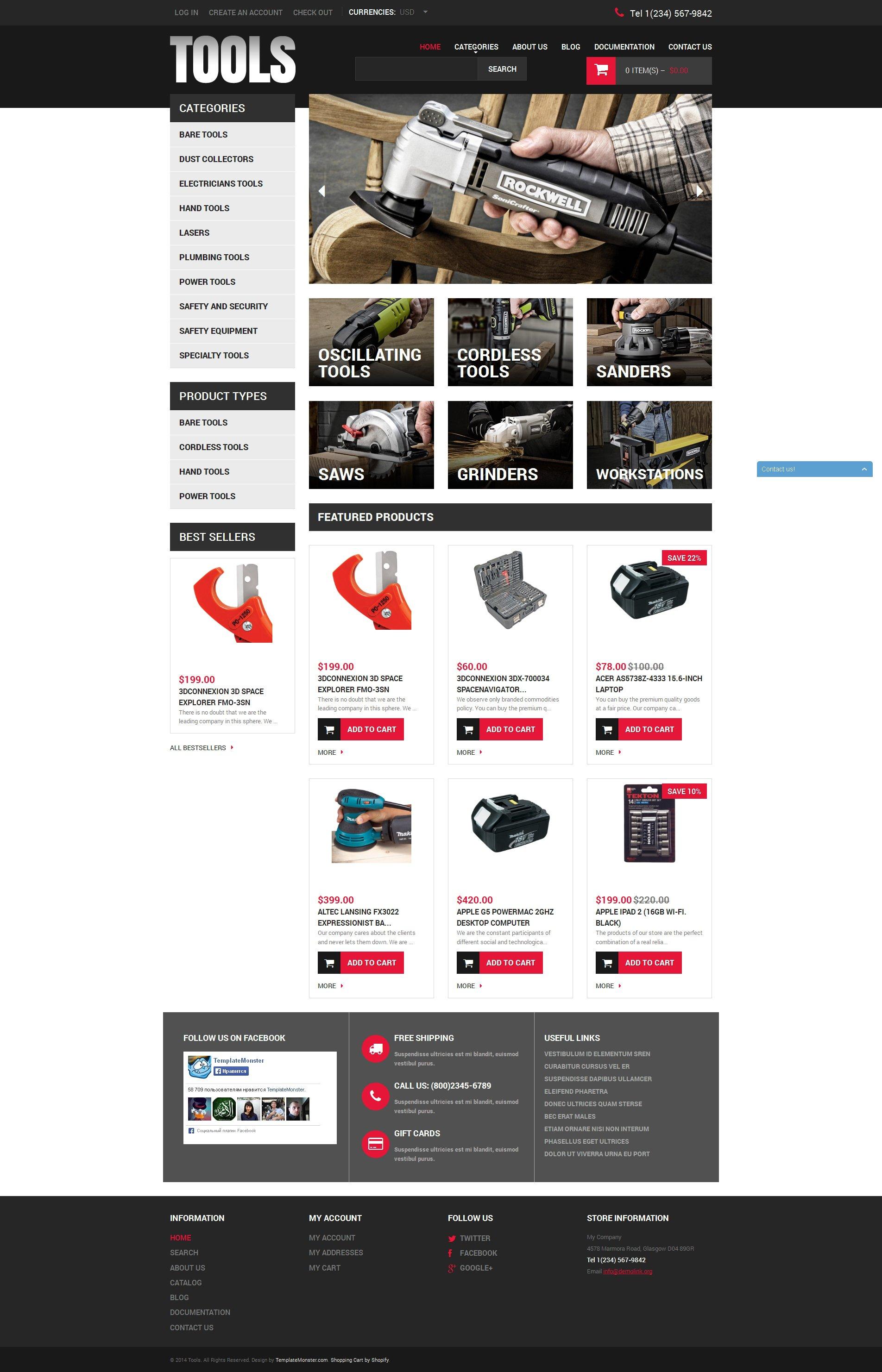Адаптивный Shopify шаблон №49594 на тему инструменты и оборудование