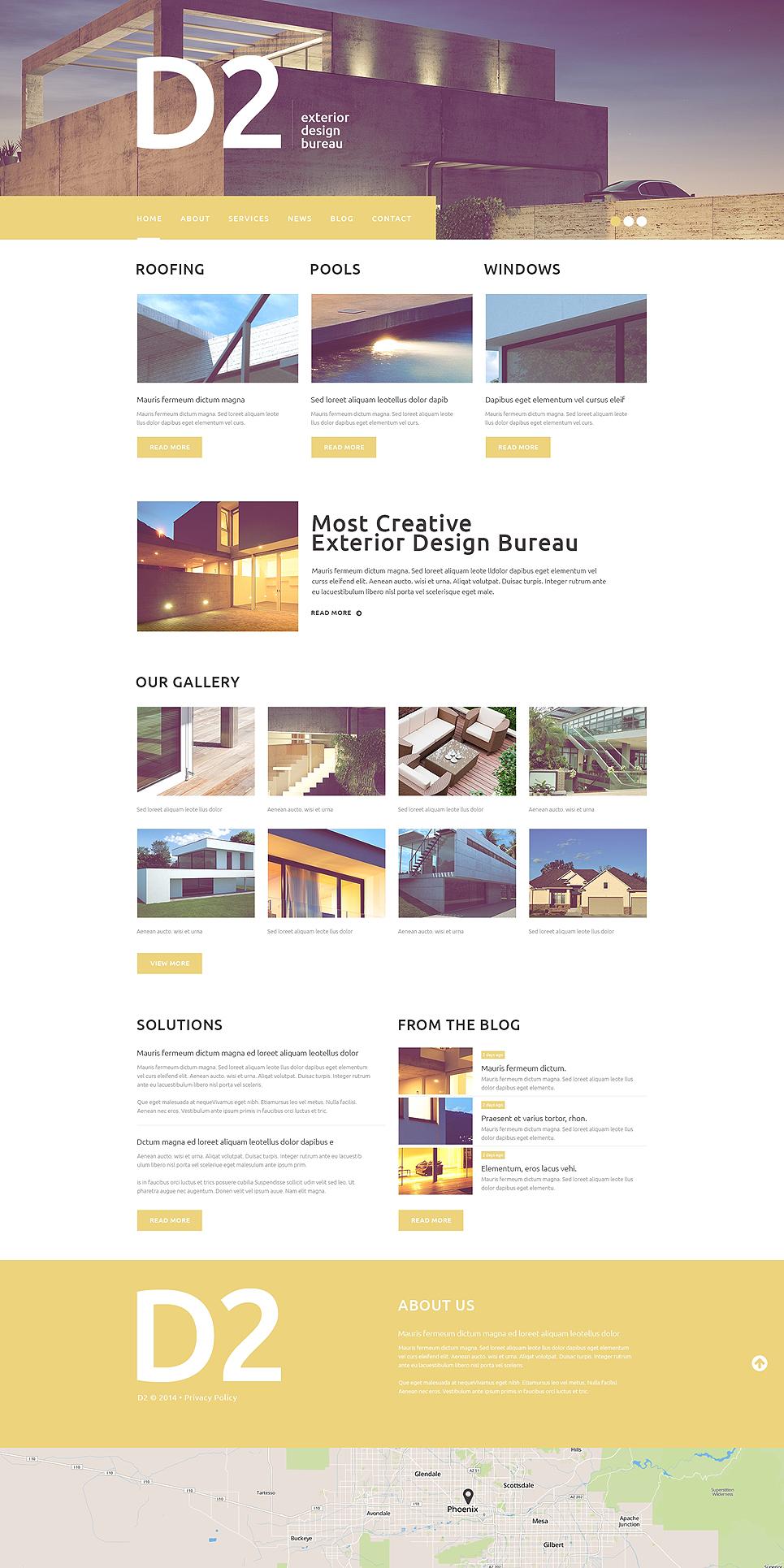 Адаптивный шаблон сайта на тему дизайн экстерьера #49500