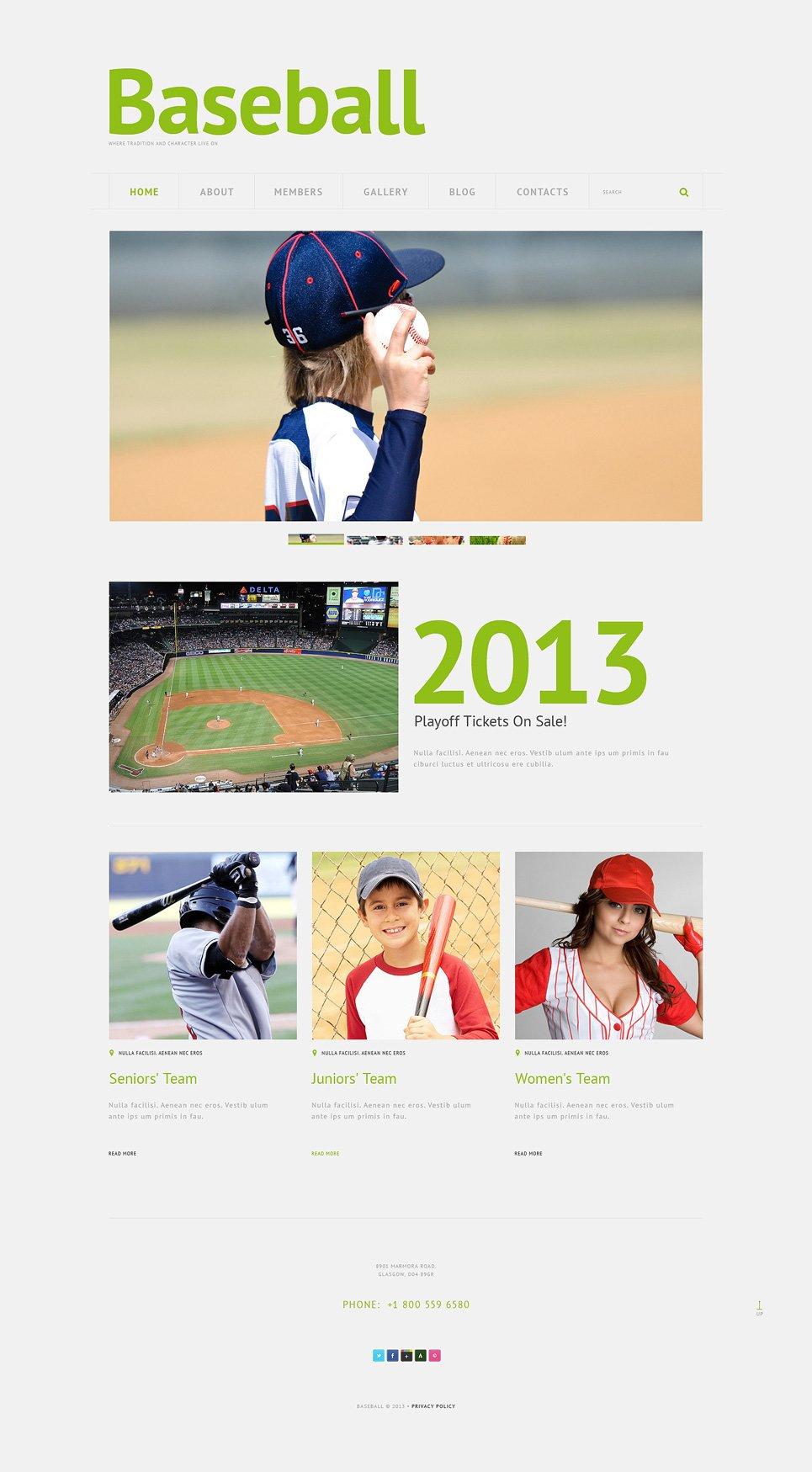 Адаптивный шаблон сайта на тему бейсбол #49511