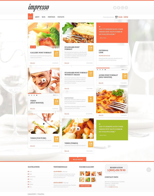 Адаптивный шаблон сайта на тему европейский ресторан #49544