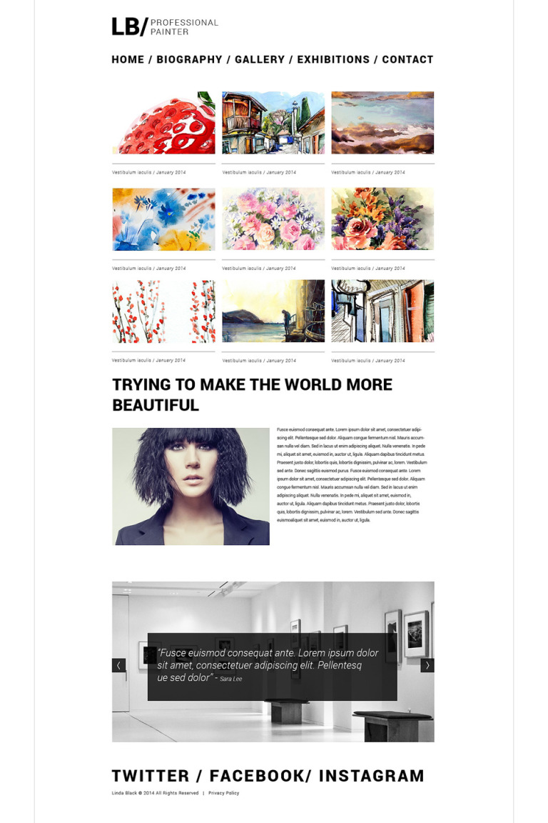 Artist Portfolio Responsive Website Template New Screenshots BIG