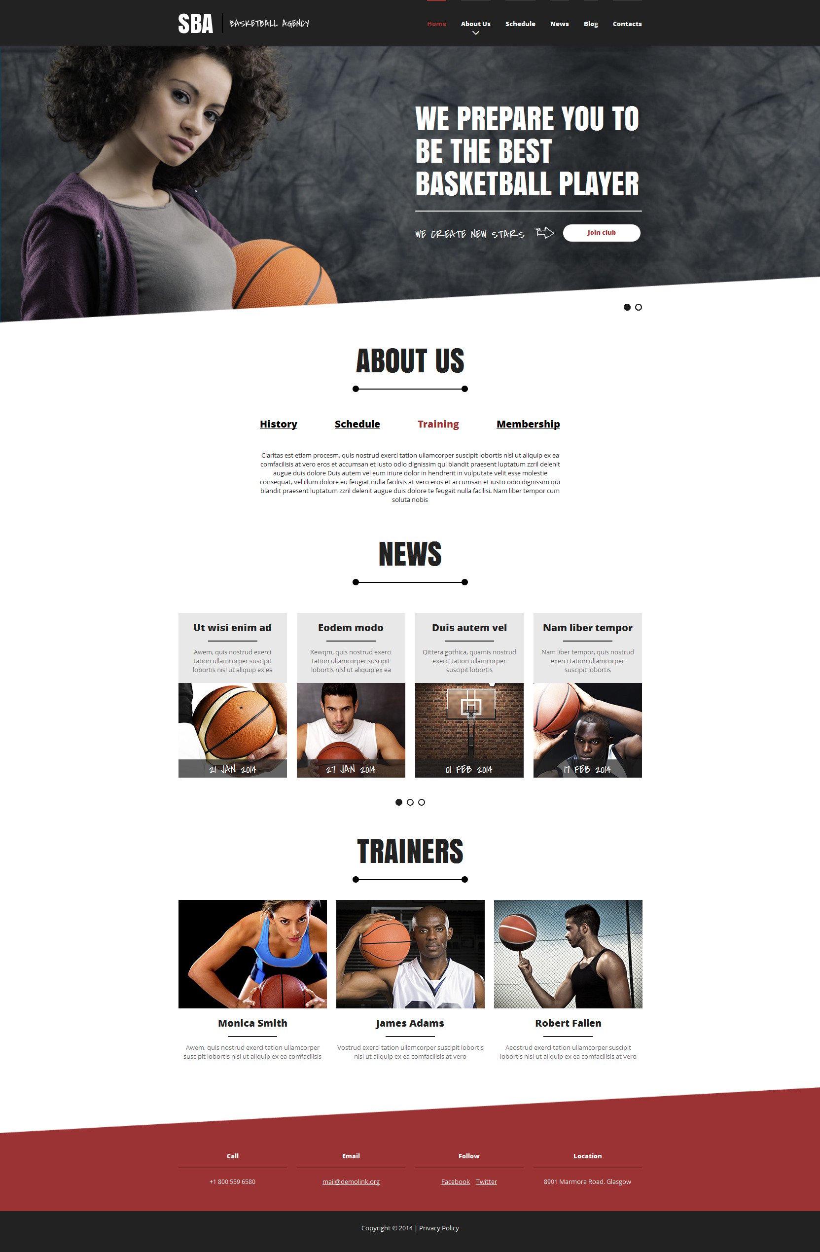 Basketball Responsive Website Template - screenshot