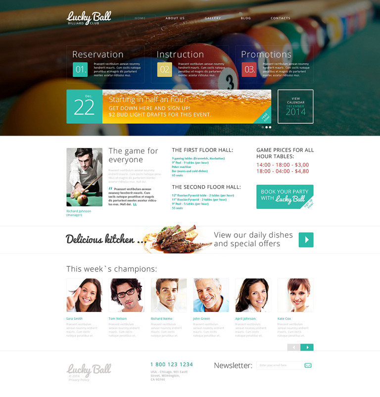 Billiards Drupal Template New Screenshots BIG