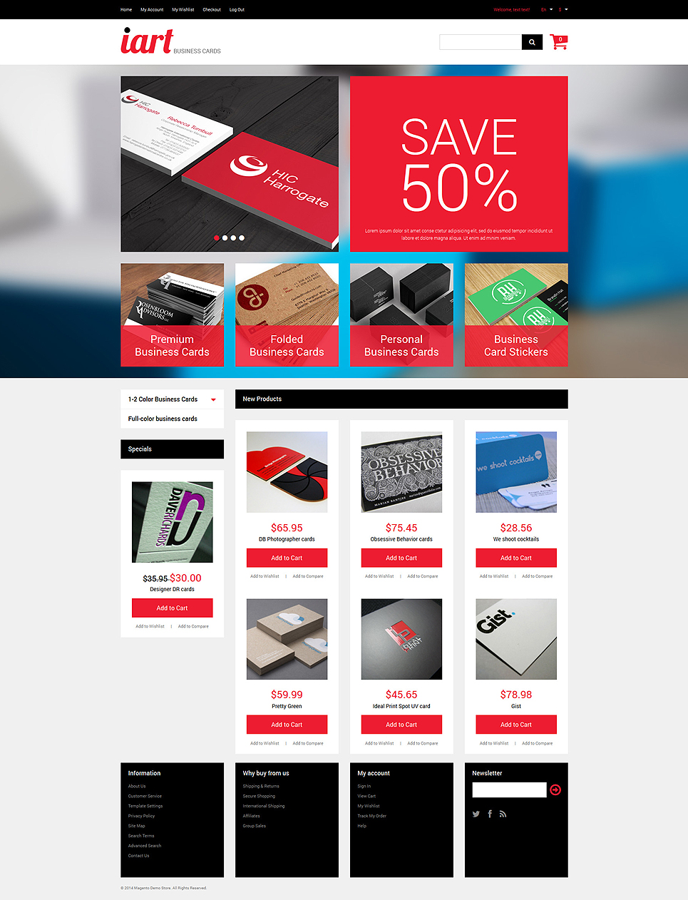 Business Cards Store Magento Theme #49520