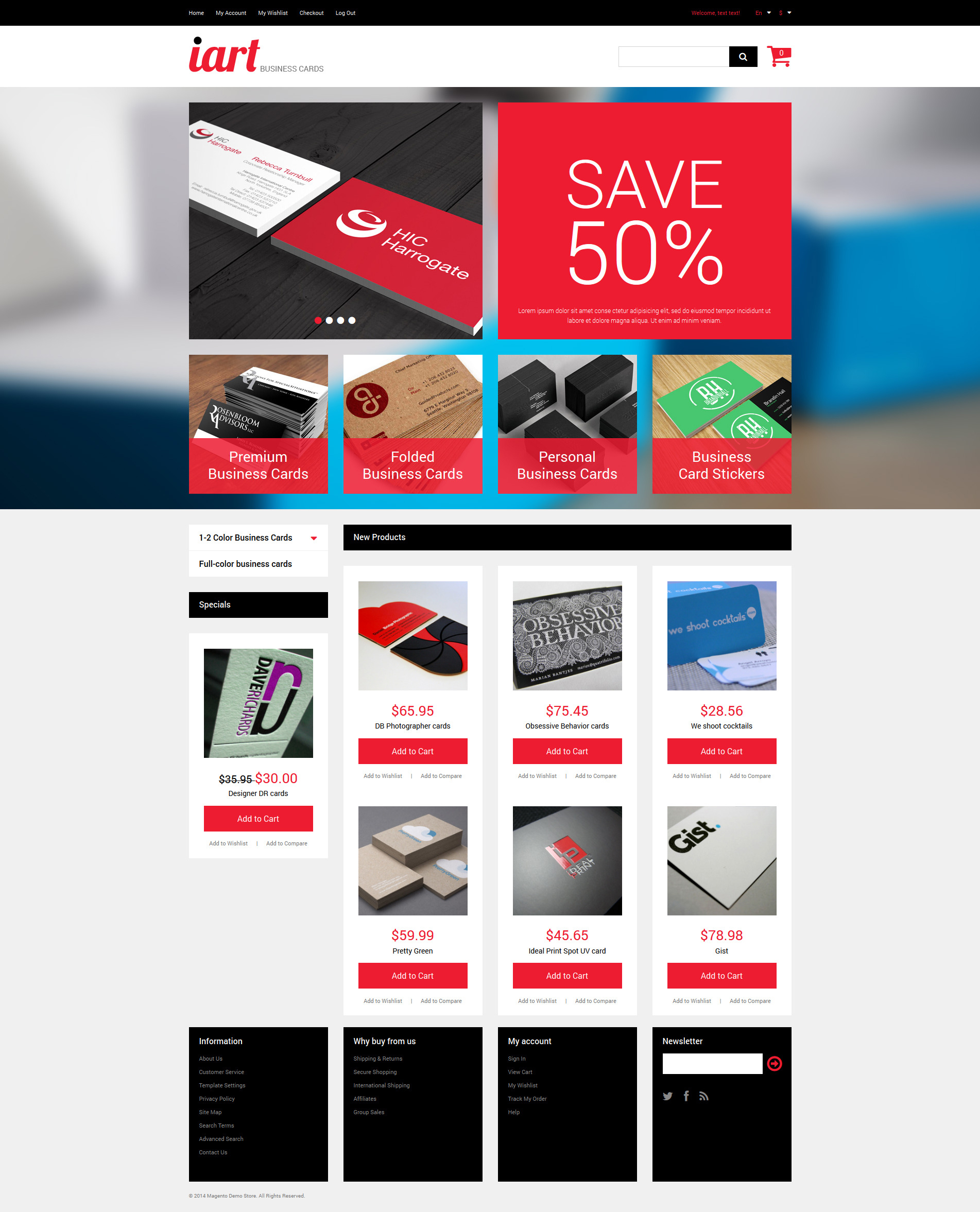"""""""Business Cards Store"""" Responsive Magento Thema №49520"""
