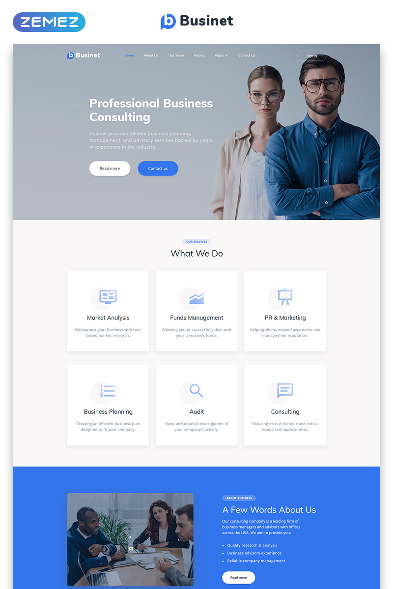 """Businet - Business Consulting Modern Multipage HTML5"" - адаптивний Шаблон сайту №49529"