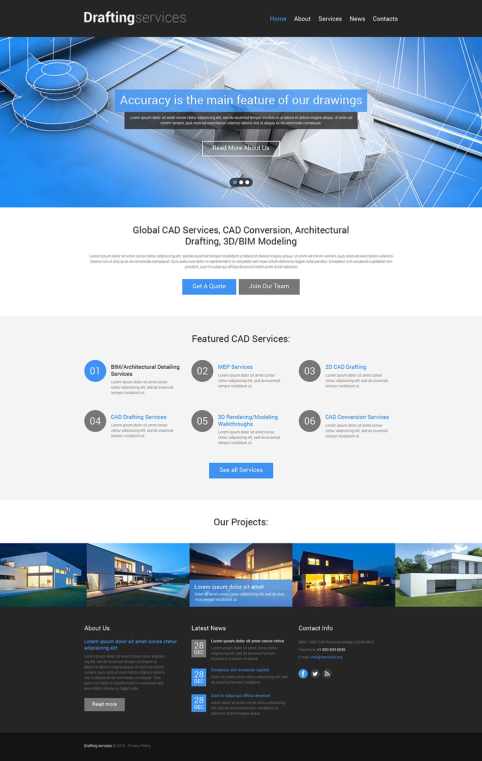 Drafting Responsive Website Template New Screenshots BIG