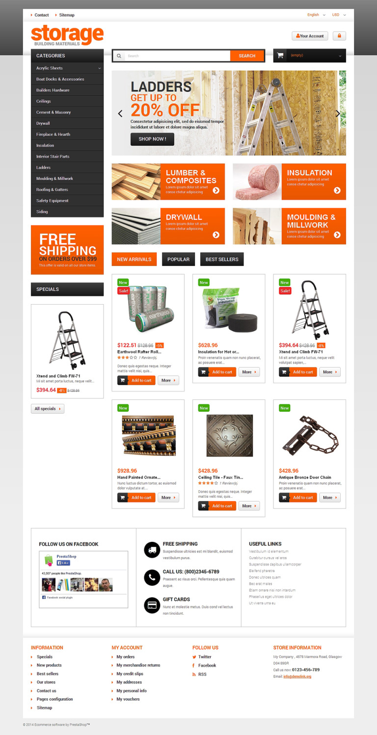 Durable Building Materials PrestaShop Theme New Screenshots BIG