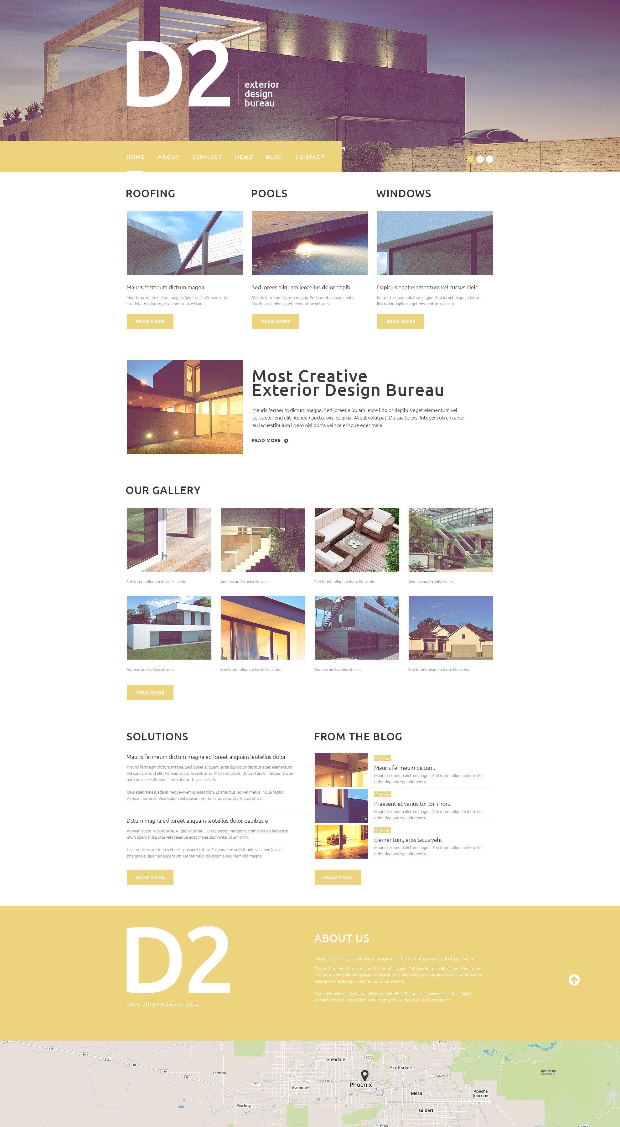 Captivating Exterior Design. Responsive WordPress Theme ...