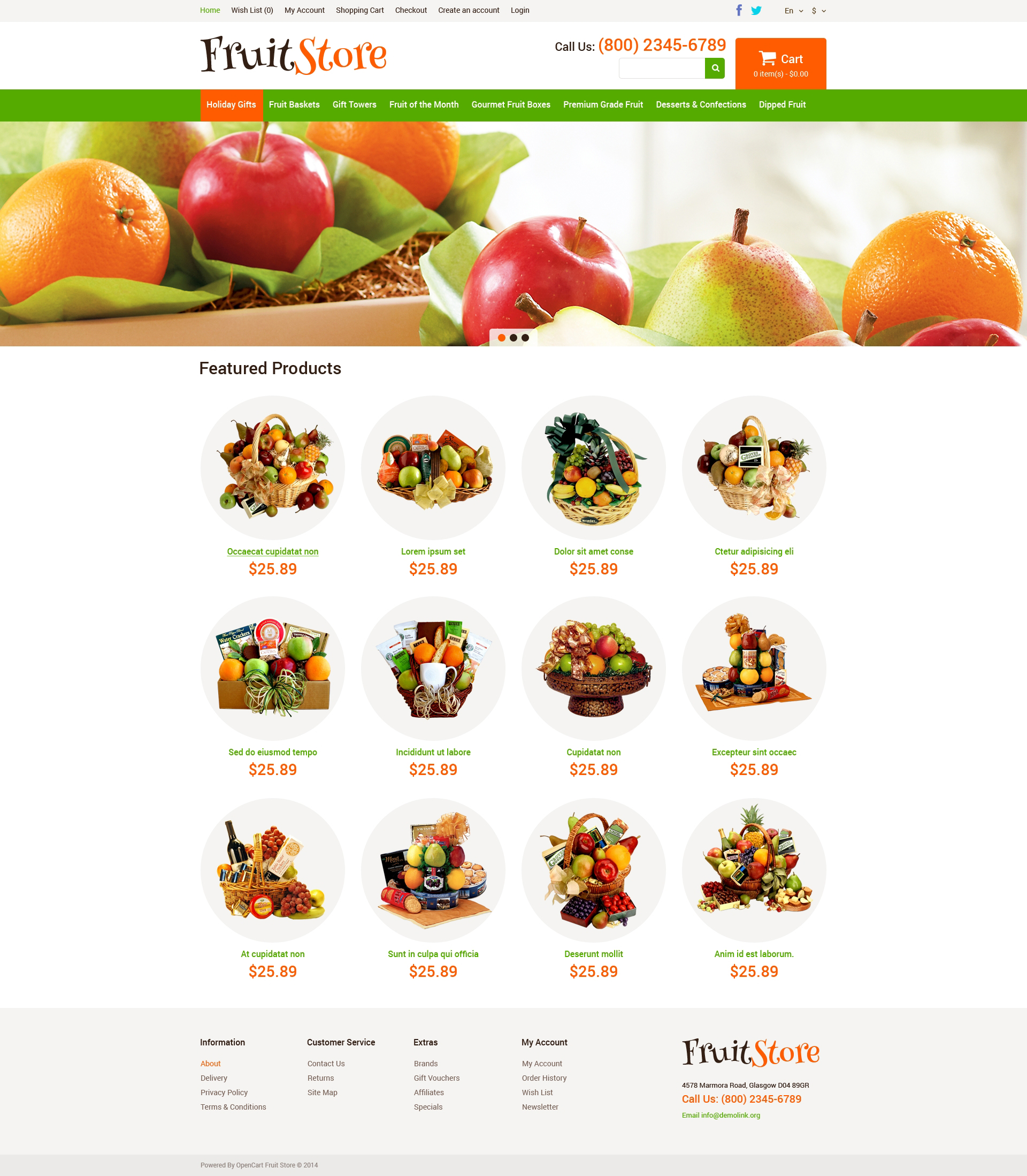 fruit gifts store opencart template 49580