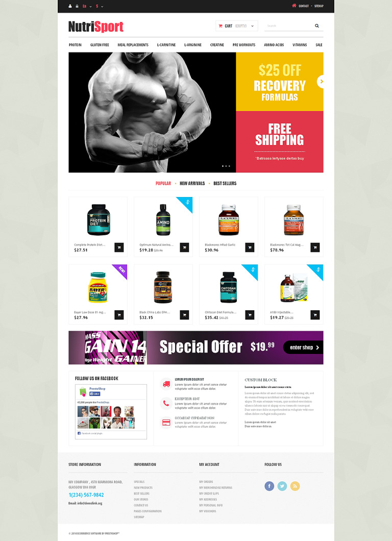 Gaining Mass PrestaShop Theme New Screenshots BIG