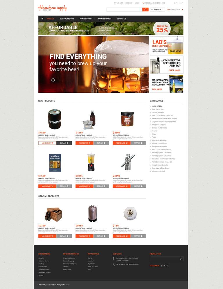 Homebrew Supply Shop Magento Theme New Screenshots BIG
