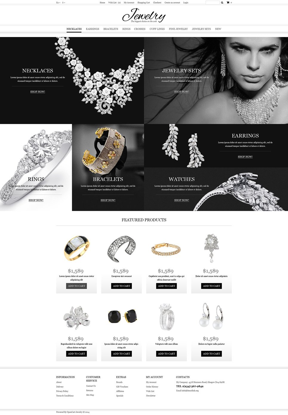 opencart template editor - jewelry online shop opencart template 49583