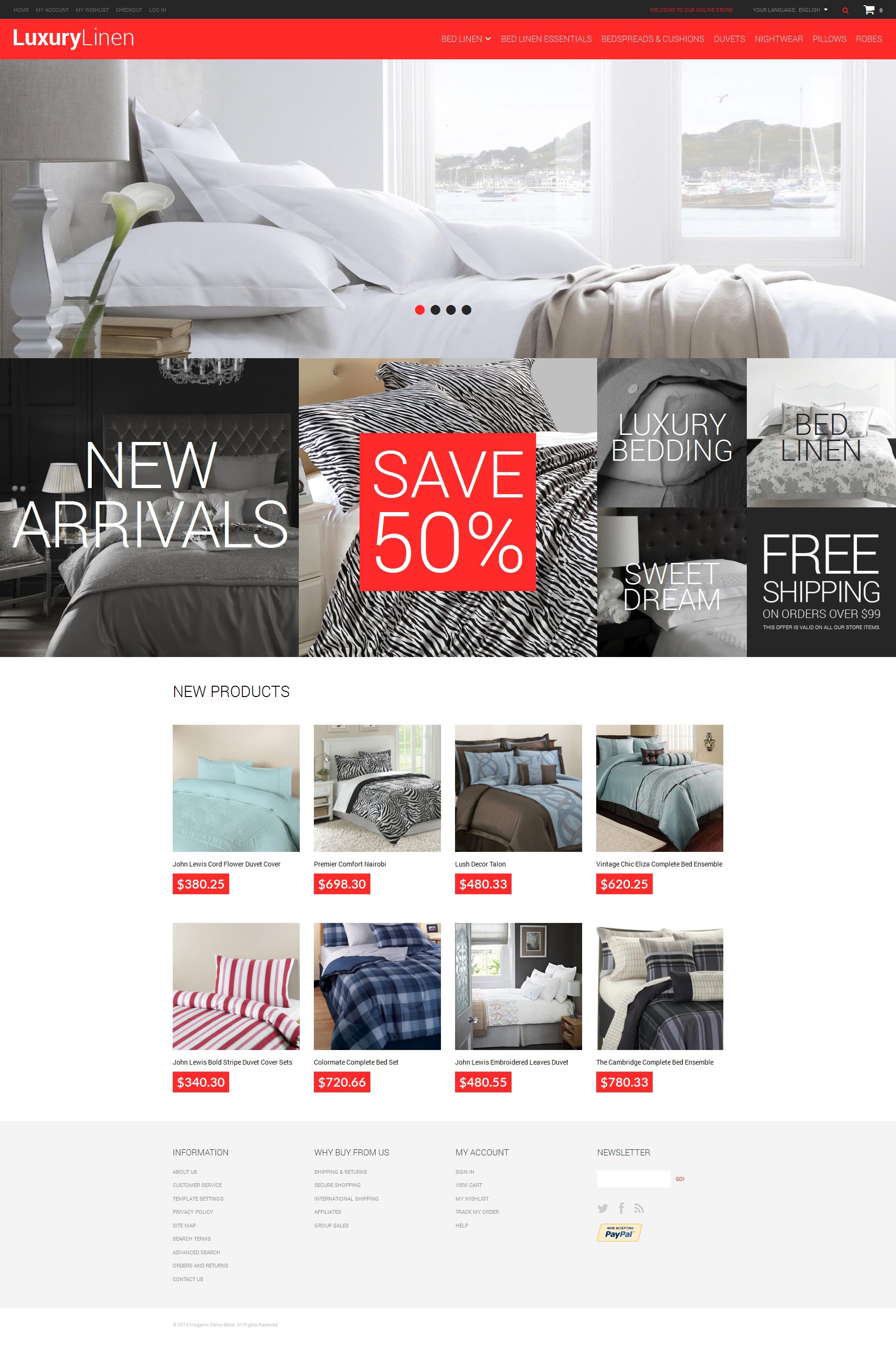Luxury Linen Store Magento Theme #49586
