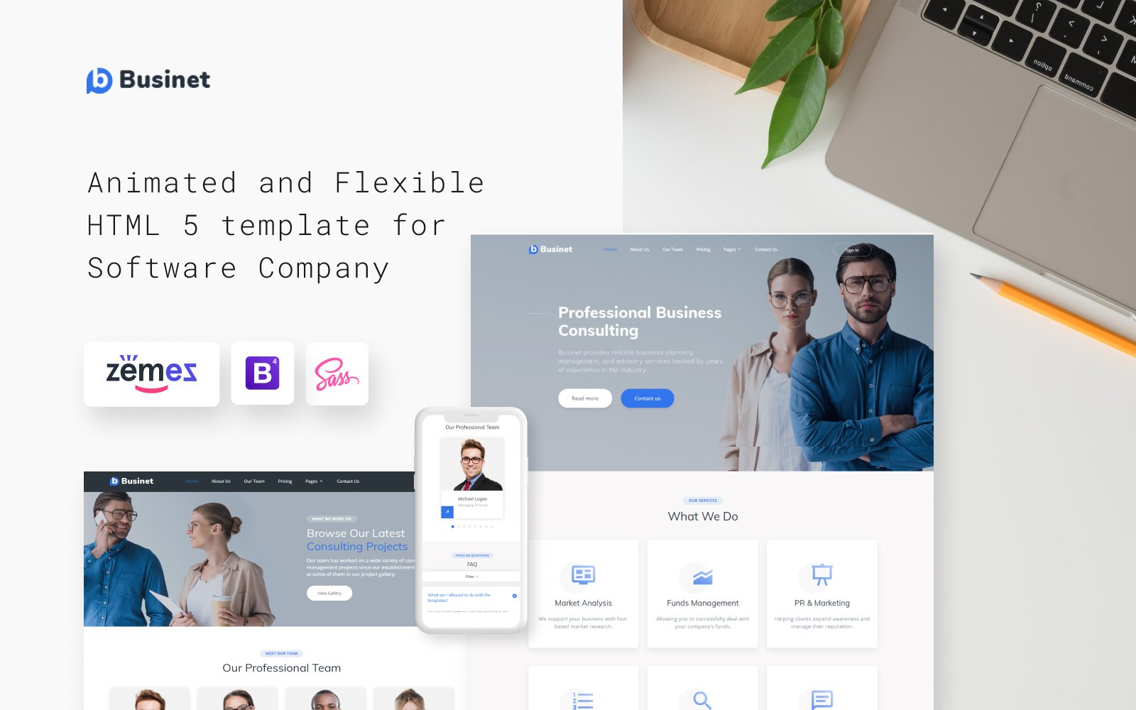 """Modello Siti Web Responsive #49529 """"Businet - Business Consulting Modern Multipage HTML5"""""""