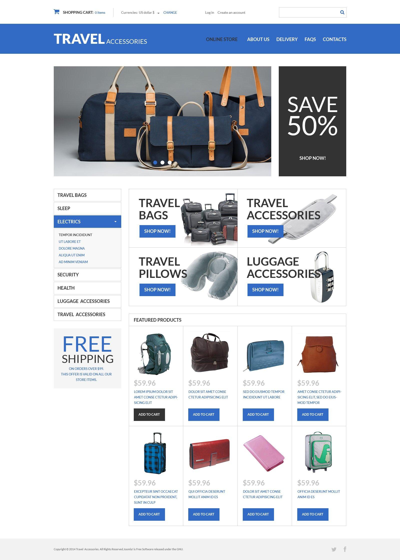 "Modello VirtueMart #49577 ""Travel Products"" - screenshot"