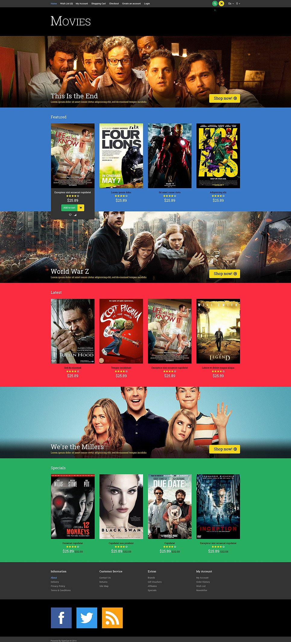 Movie Responsive OpenCart Template New Screenshots BIG