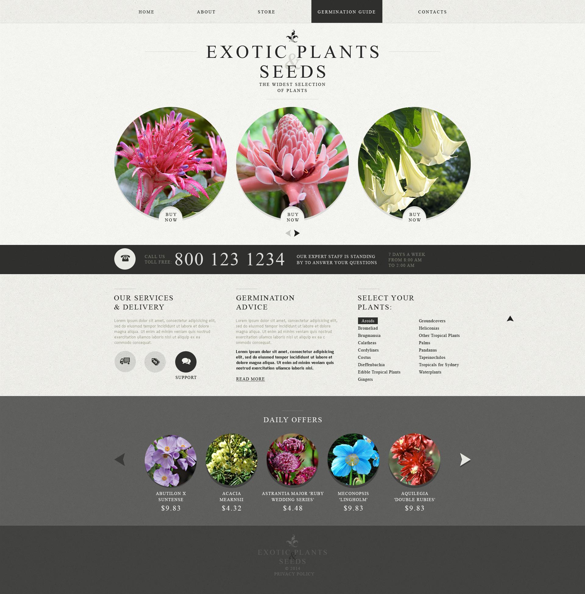Responsive Website Vorlage für Gartendesign #49564