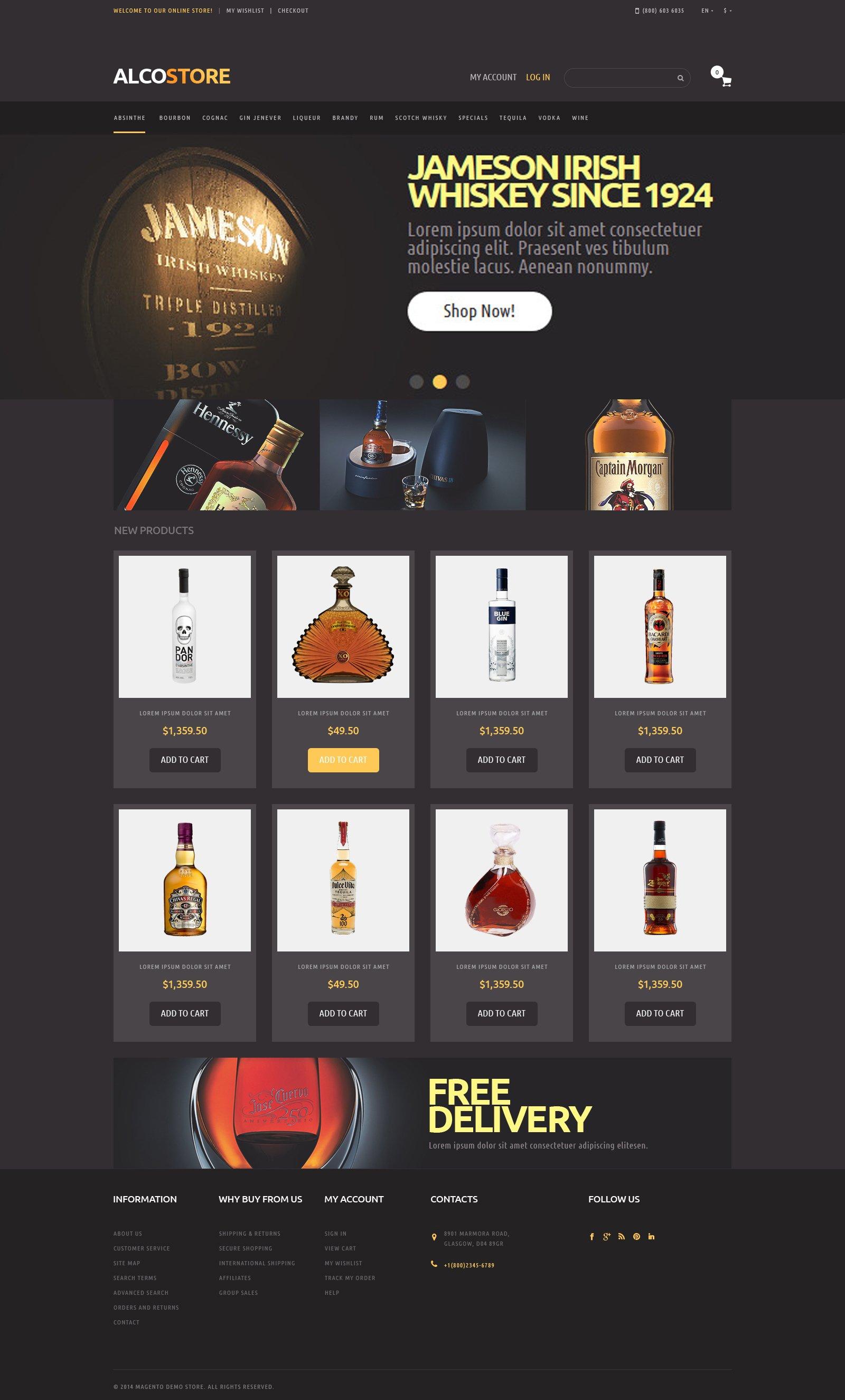 Responsivt Alcoholic Beverages Magento-tema #49587
