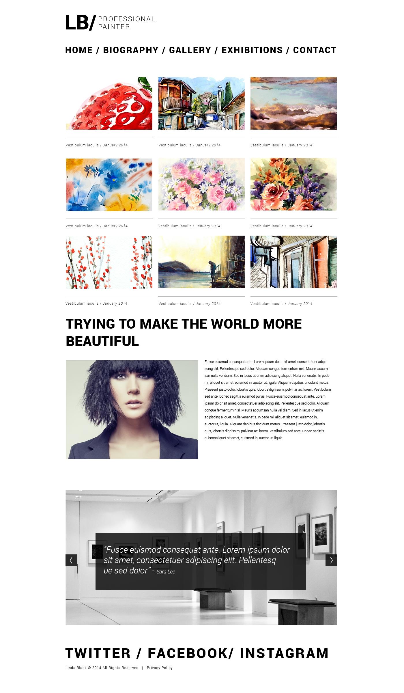 Reszponzív Művészi portfóliók témakörű Weboldal sablon 49560