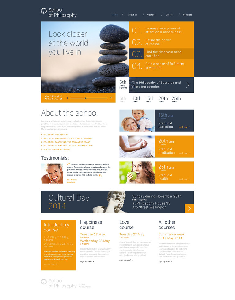 School of Philosophy WordPress Theme New Screenshots BIG