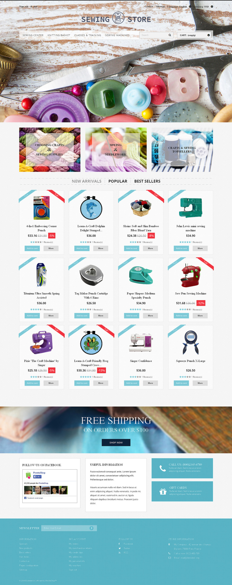 Sewing Lovers PrestaShop Theme New Screenshots BIG