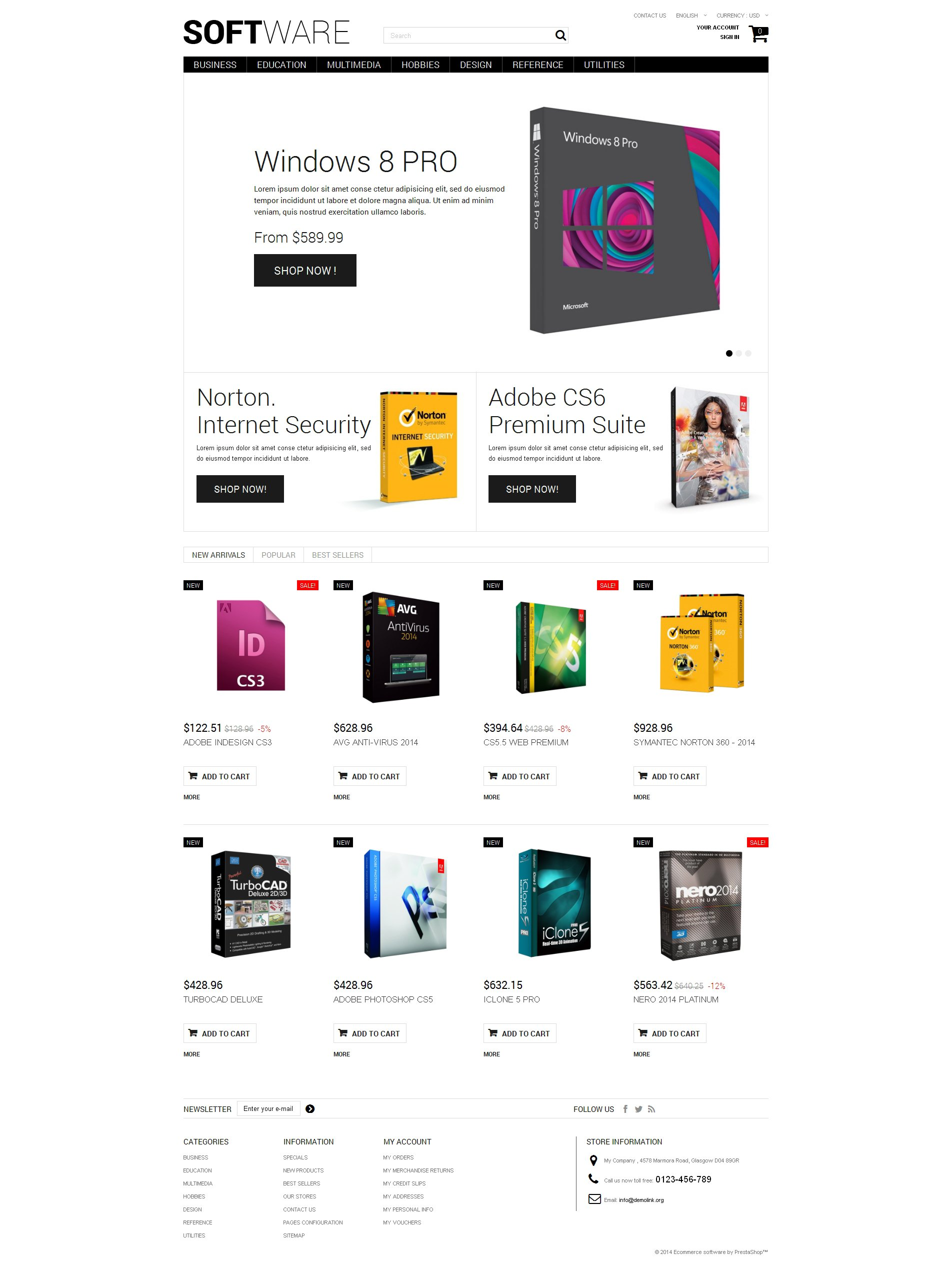 Software Shopping PrestaShop Theme - screenshot