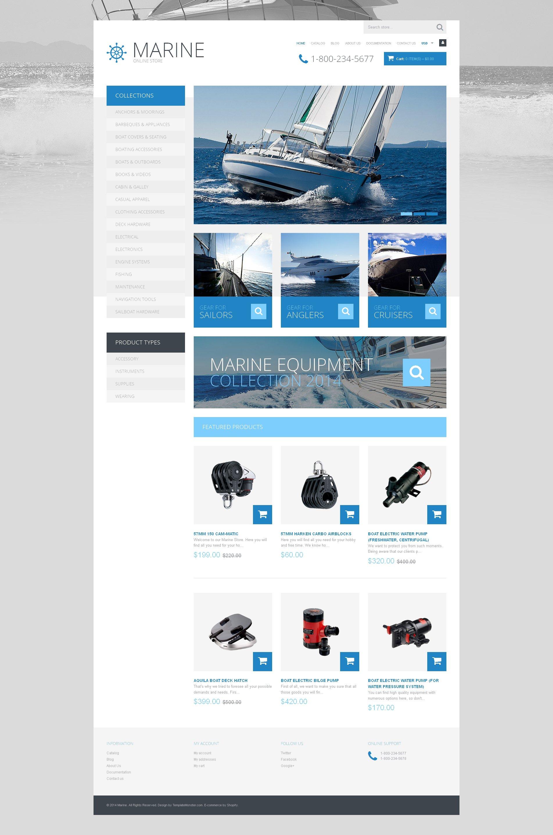 Tema Shopify Responsive para Sitio de Navegación de recreo o deportiva #49501