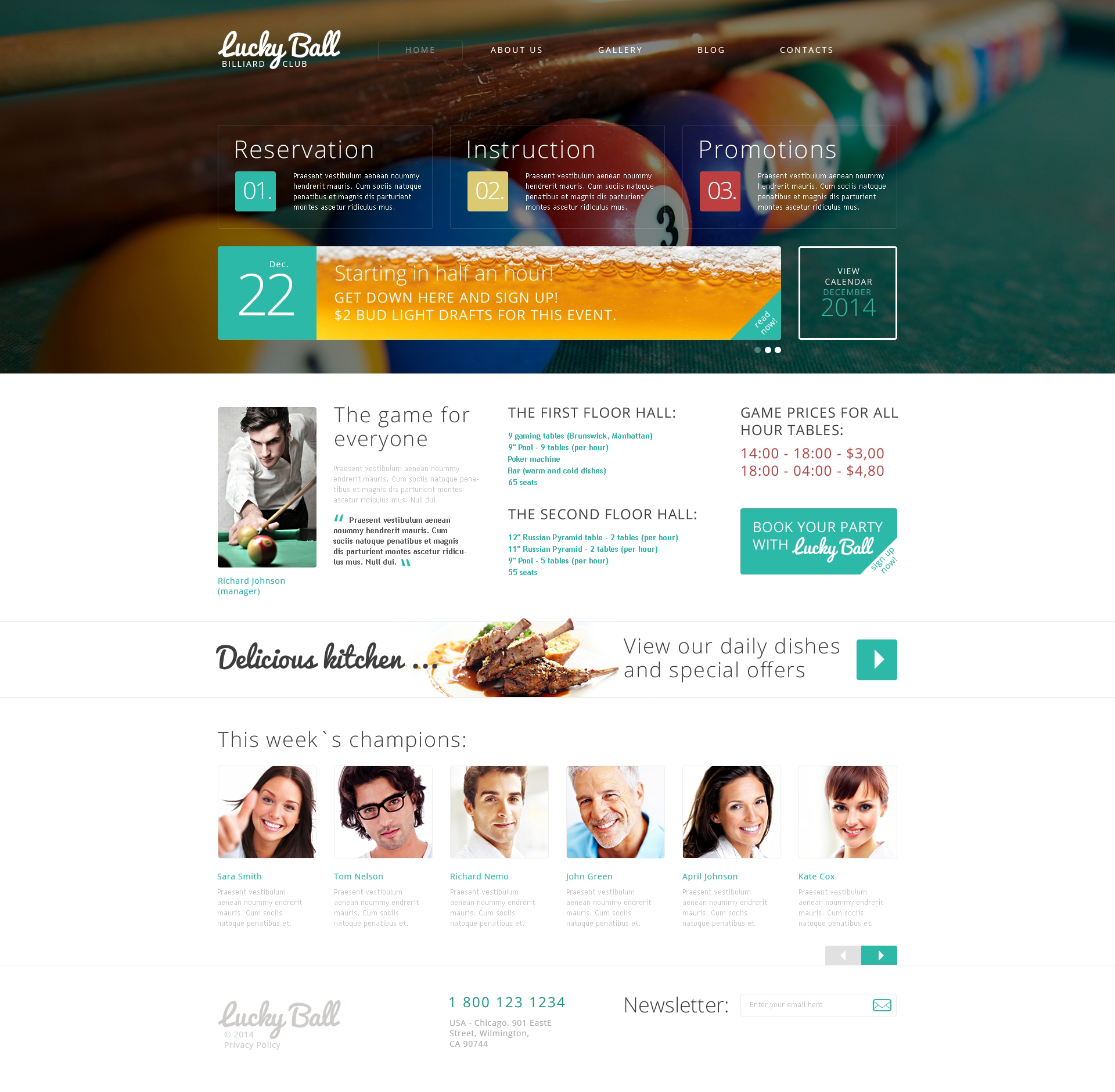 Thème Drupal pour site de billiard #49524
